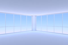 Empty blue business office room corner with two large windows Stock Image