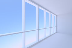 Empty blue business office room with large window Royalty Free Stock Photos