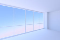 Empty blue business office room with large window. Royalty Free Stock Image