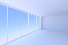 Empty blue business office room with large window in corner Royalty Free Stock Photos