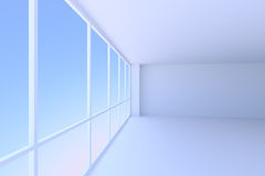 Empty blue business office room with large window perspective vi. Business architecture office room interior - empty blue business office room with floor Stock Image