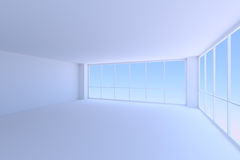 Empty blue business office room with two large windows. Royalty Free Stock Image