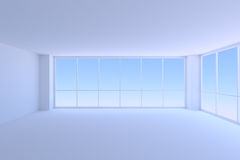 Empty blue business office room with two large windows. Stock Images