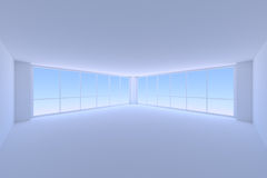 Empty blue business office room with two large windows wide view Royalty Free Stock Photos