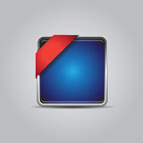 Empty blue button with red corner ribbon Royalty Free Stock Photos