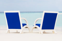 Empty Chairs On Beautiful Tropical Beach Stock Photography