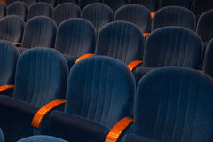 Empty blue cinema or theater seats Stock Images