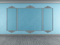 Empty blue classic room Stock Images