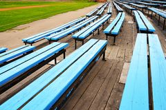 Empty blue color stadium seats Royalty Free Stock Image