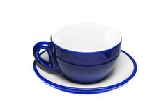 Empty blue cup and plate Royalty Free Stock Images