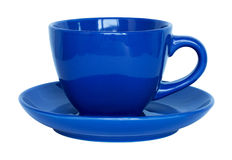 Empty blue cup and saucer isolated on white Stock Images