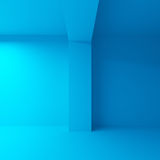 Empty blue 3d interior illustration. Abstract architecture background. Empty blue 3d interior Stock Photo