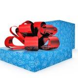 Empty blue gift box on white. 3D illustration. Empty blue gift box on white background. 3D illustration Stock Photo