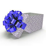 Empty blue gift box on white. 3D illustration. Empty blue gift box on white background. 3D illustration Royalty Free Stock Photo