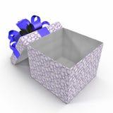 Empty blue gift box on white. 3D illustration. Empty blue gift box on white background. 3D illustration Royalty Free Stock Photos
