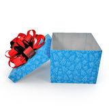 Empty blue gift box on white. Side view. 3D illustration. Empty blue gift box on white background. Side view. 3D illustration Stock Photography