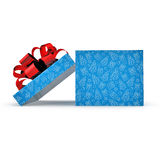 Empty blue gift box on white. Side view. 3D illustration. Empty blue gift box on white background. Side view. 3D illustration Stock Photo