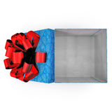Empty blue gift box on white. Top view. 3D illustration. Empty blue gift box on white background. Top view. 3D illustration Royalty Free Stock Photos