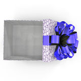 Empty blue gift box on white. Top view. 3D illustration. Empty blue gift box on white background. Top view. 3D illustration Stock Image