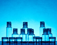 Empty blue glass bottles Stock Image