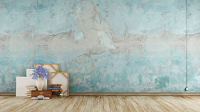 Empty blue grunge room Royalty Free Stock Photos