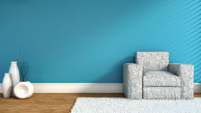 Empty blue interior with chair and vase. 3D Illustration Stock Images