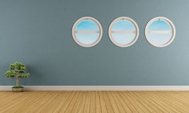 Empty blue interior Royalty Free Stock Photography