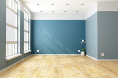 Empty blue living room Royalty Free Stock Image