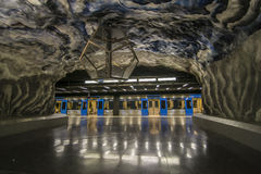 Empty blue metro in Stockholm. Royalty Free Stock Images
