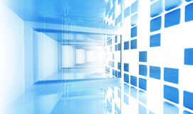Empty blue modern corridor. Abstract architecture Royalty Free Stock Image