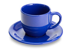 empty Blue mug with saucer isolated Stock Photo