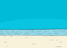 Empty Blue Ocean Beach. Blue sky over lake and shoreline cartoon background Royalty Free Stock Photo