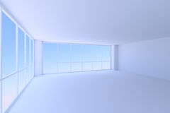 Empty blue office room with two large windows. Business architecture office room interior - empty blue business office room with floor, ceiling, walls and two Stock Image