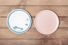 Empty blue and pink pastel colored plate royalty free stock images