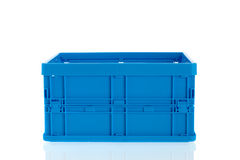 Blue plastic crate Royalty Free Stock Image