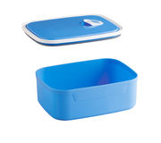 Empty blue plastic food box Stock Images