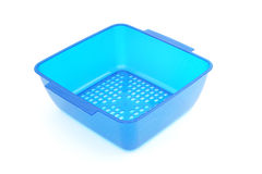 Empty blue plastic food container Stock Photo