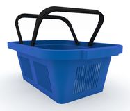 Empty blue plastic shopping basket. 3d render illustration on white background Stock Photos