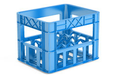 Empty blue plastic storage box, crate for bottles. 3D rendering Stock Images