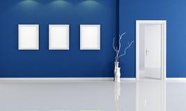 Empty blue room Stock Photos