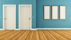 Empty blue room with doors Stock Photos
