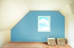 Empty blue room interior Stock Photography