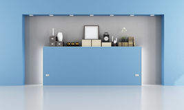 Empty blue room with niche. And decor objects - rendering royalty free illustration