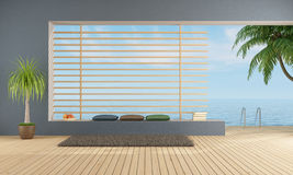 Empty  blue room  with sea access Stock Photo