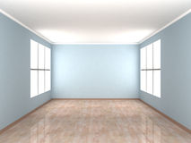Empty blue Room with two windows. 3d royalty free illustration
