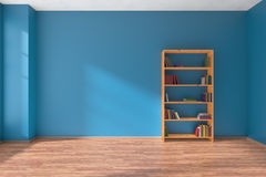 Empty blue room wooden bookshelf interior Stock Photography