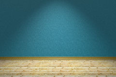 Empty blue room and wooden floor under lamp Stock Photo