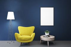Empty blue room, yellow armchair, table, poster stock illustration
