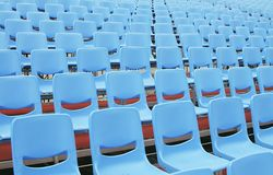 Empty Blue Seats in Open Air Stock Image