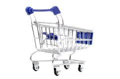 Empty blue shopping cart isolated on white background. stock images